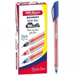 36 Boligrafos Azul Offi Esco Semigel 0.7 trazo fino OE-076F