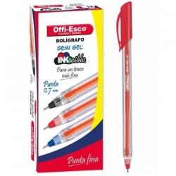 36 Boligrafos Rojo Offi Esco Semigel 0.7 trazo fino OE-076F