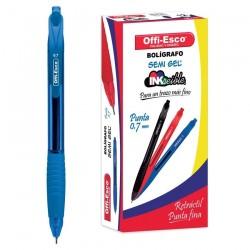 36 Boligrafos Azul Offi Esco Semi Gel Retractil 0.7mm OE050