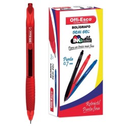 36 Boligrafos Rojo Offi Esco Semi Gel Retractil 0.7mm OE-050 OFPOEC442_1