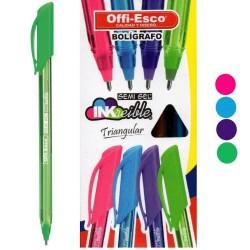 36 Boligrafos Verde Lima Offi Esco Semigel 1mm OE-077