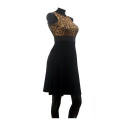 Vestido Animal Print cinturon Falda Negra corte en A Talla S