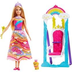 Muñeca Barbie Dreamtopia Mattel Trono de Arcoiris 30cm