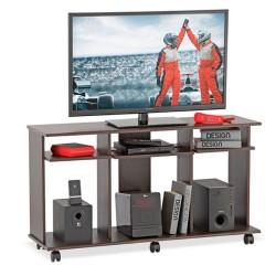 Mesa Inval Para Tv 50 pulgadas con Ruedas cafe 120x66x36cm