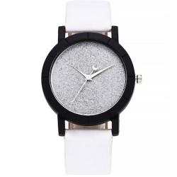 Reloj casual cuarzo correa cuero sintético analógico Blanco