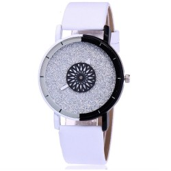 Reloj casual cuarzo cuero sintético analógico Blanco Negro