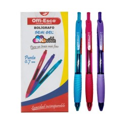 36 Boligrafos Colores Offi Esco Retractil 0.7mm OE051