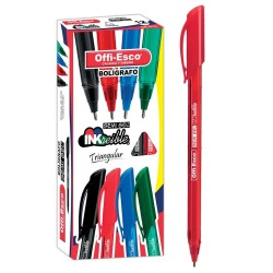 36 Boligrafos Rojo Offi Esco Semigel 1mm trazo fino OE-076