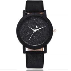 Reloj casual cuarzo correa cuero sintético analógico Negro