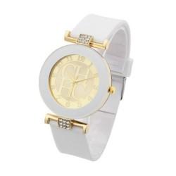 Reloj cuarzo casual correa silicona pulsera Blanco RE10B