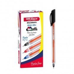 36 Boligrafos Negro Offi Esco Semigel 0.7 trazo fino OE-076F