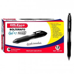 12 Boligrafos Negro Offi Esco Gel 0.7 mm Retractil OFPOEC246_1