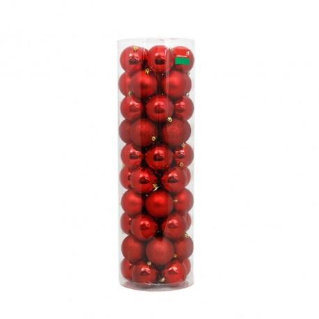 50 Esferas de 8 cm de diámetro color Rojo - Navidad HOGGEN275_1