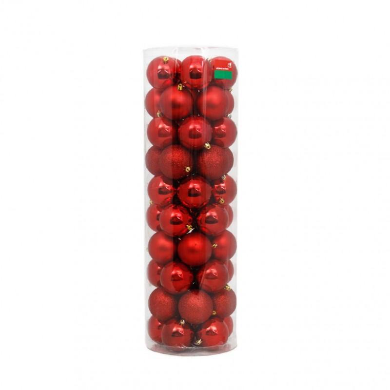 50 Esferas de 8 cm de diámetro color Rojo - Navidad HOGGEN275