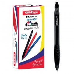 36 Boligrafos Negro Offi Esco Semi Gel Retractil 0.7mm OE050 OFPOEC393_1