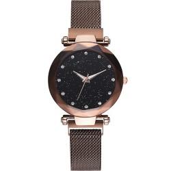 Reloj mujer de cuarzo cielo estrellado magnetico malla Cafe RE6