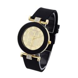 Reloj de cuarzo casual correa silicona pulsera Negro RE10A