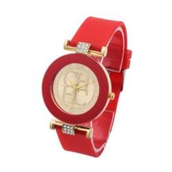 Reloj de cuarzo casual correa de silicona pulsera Rojo RE10C