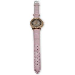 Reloj Mujer Diseño Flor Cuero Sintetico Rosado