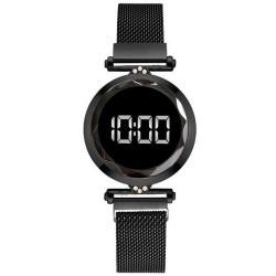 Reloj Mujer Negro Digital Magnetico Malla