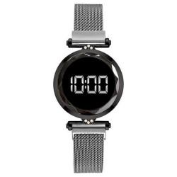 Reloj Mujer Gris Digital Magnetico Malla