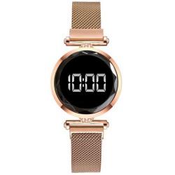 Reloj Mujer Dorado Digital Magnetico Malla