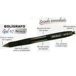 12 Boligrafos Negro Offi Esco Gel 0.7 mm Retractil OFPOEC246_2